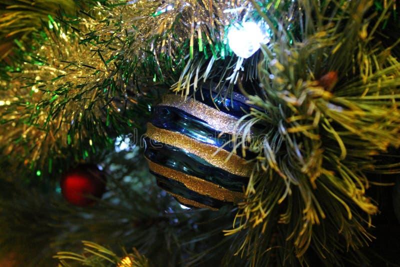Blå prydnad som hänger på en julgran royaltyfria foton