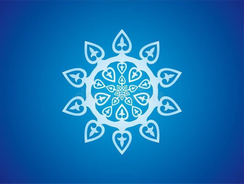 blå prydnadrosettesnowflake royaltyfri illustrationer