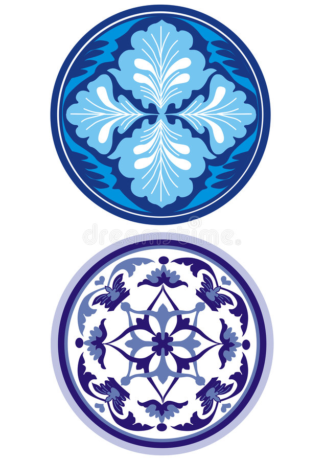 blå prydnadryssstil royaltyfri illustrationer