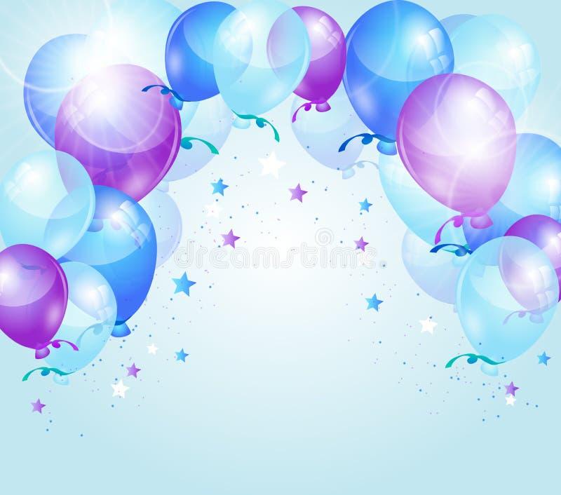 Blå purpurfärgad födelsedagbakgrund vektor illustrationer