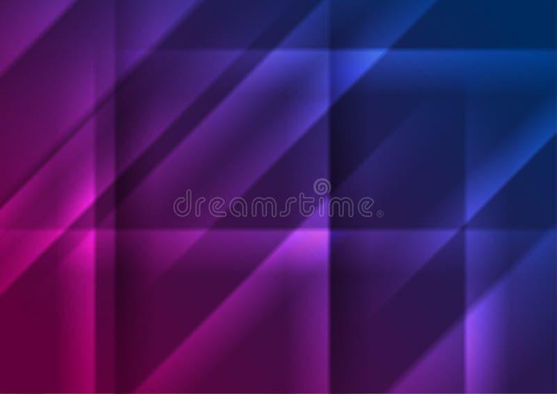 Blå purpurfärgad glödande abstrakt bakgrund för släta band royaltyfri illustrationer