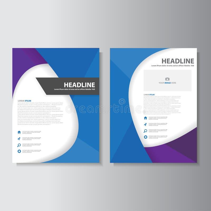 Blå purpurfärgad uppsättning för design för lägenhet för mall för orientering för abstrakt begrepp för broschyrreklambladbroschyr vektor illustrationer