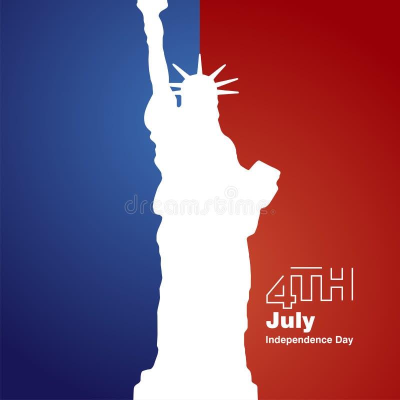 Blå röd bakgrund frihet4th Juli för vit logo stock illustrationer