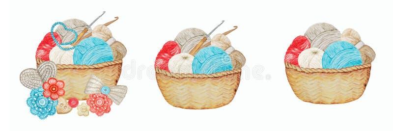 Blå röd, grå beige Crochet Shop Logotype set, Branding, Avatar-sammansättning av krokar, garn, virkat hjärta, båge arkivfoton