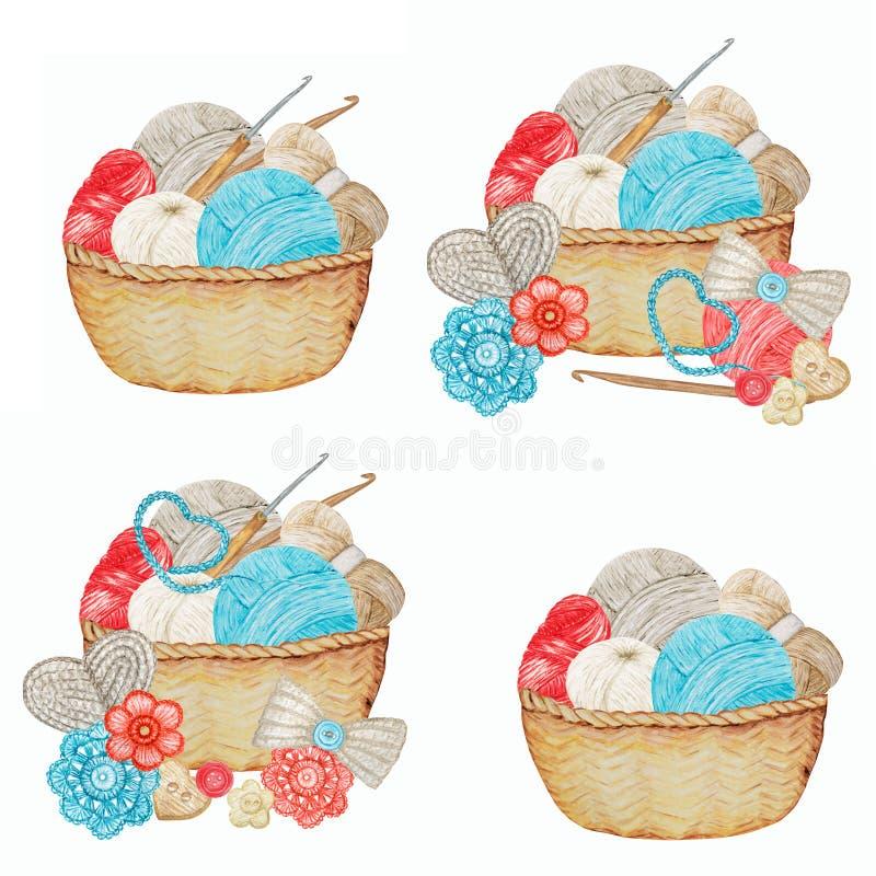 Blå röd, grå beige Crochet Shop Logotype set, Branding, Avatar-sammansättning av krokar, garn, virkat hjärta, båge fotografering för bildbyråer