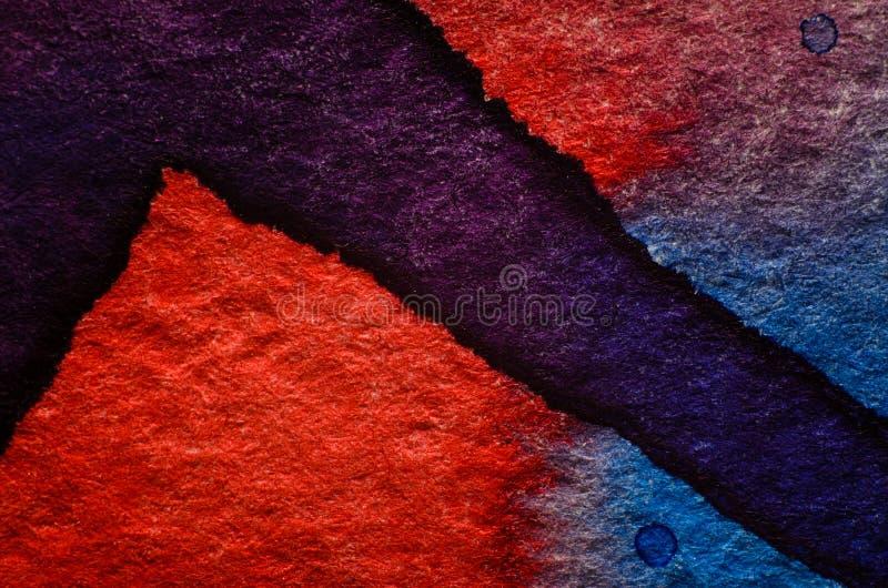 Blå röd vattenfärgbakgrund royaltyfri foto