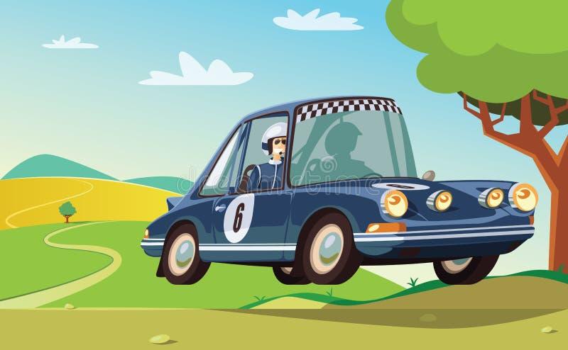 Blå racerbil i handling royaltyfri illustrationer