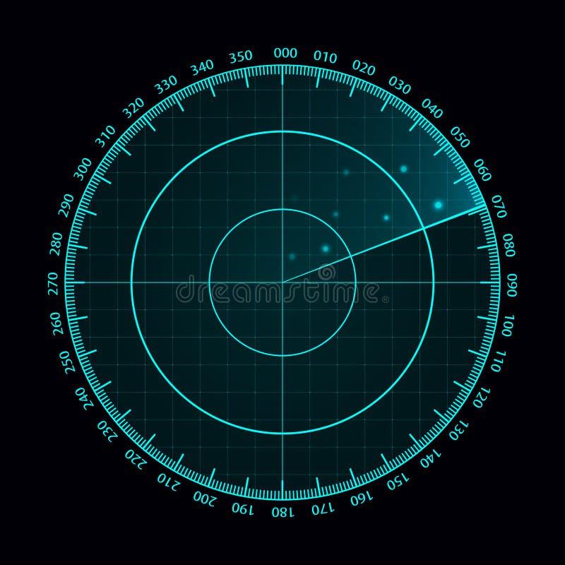 Blå radarskärm för vektor Militärt sökandesystem Futuristisk HUD radarskärm Futuristiska Hud Interface royaltyfri illustrationer