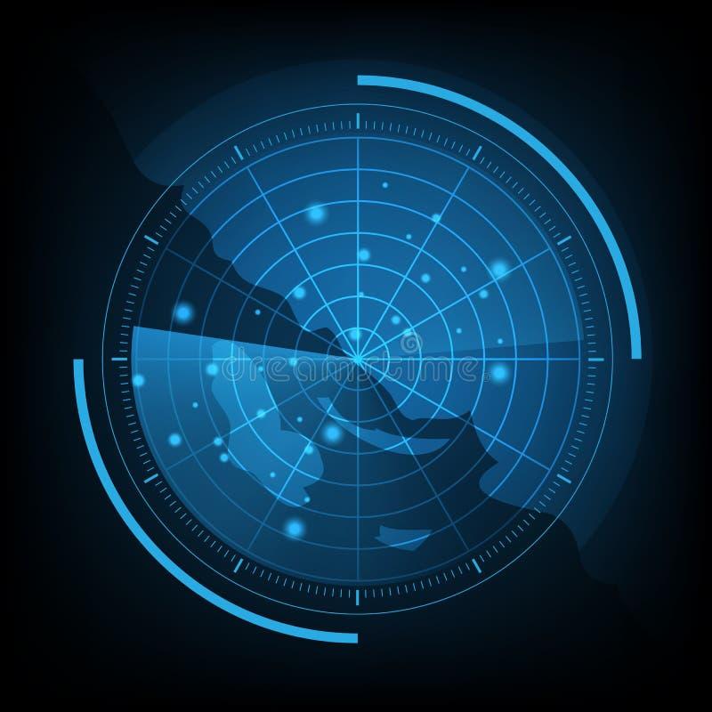 Blå radarskärm med översikten stock illustrationer