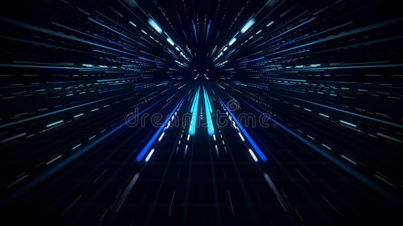 Blå radiell bakgrund för rörelse för ljusa strålar suddig abstrakt stock illustrationer