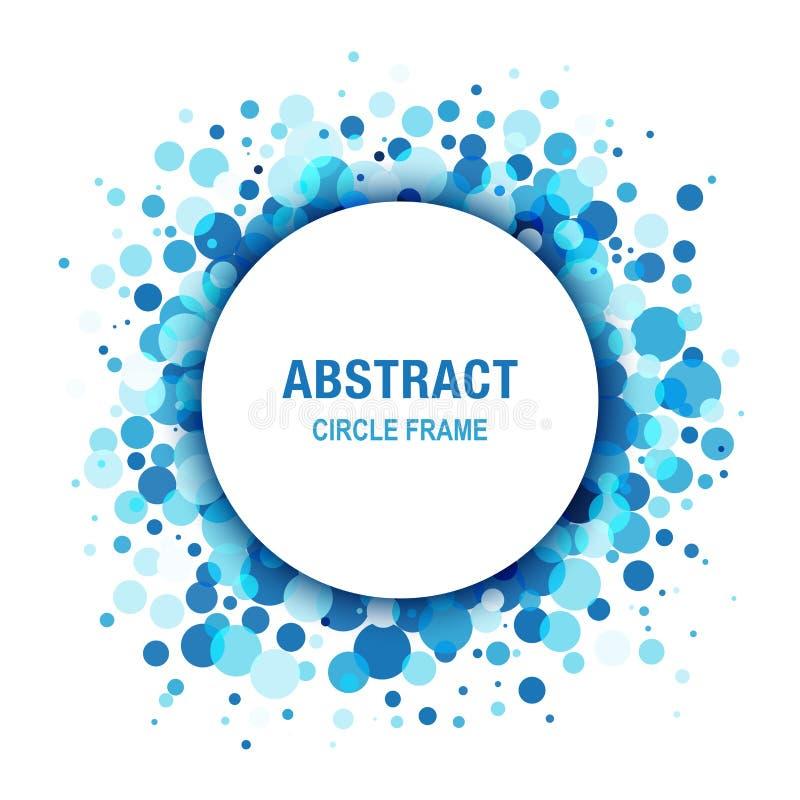 Blå ram för ljusabstrakt begreppcirkel vektor illustrationer