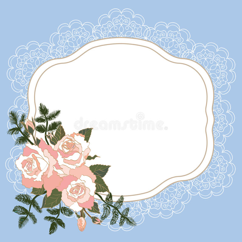 Blå ram med blom- design vektor illustrationer