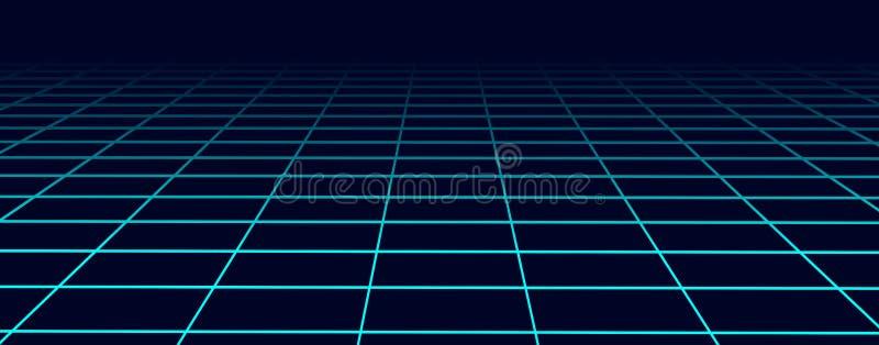 Blå rasterbakgrund för perspektiv Abstrakt futuristisk raster80-talstil ocks? vektor f?r coreldrawillustration royaltyfri illustrationer