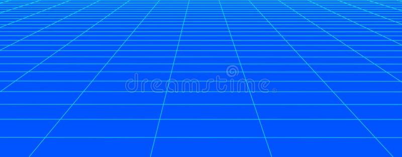 Blå rasterbakgrund för perspektiv Abstrakt vektorwireframelandskap Abstrakt ingreppsbakgrund ocks? vektor f?r coreldrawillustrati stock illustrationer
