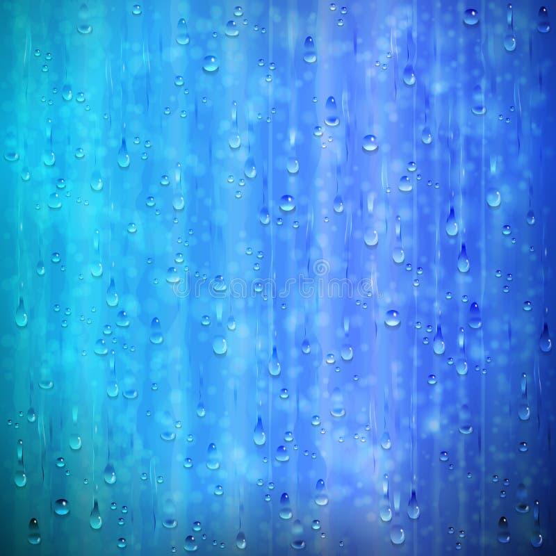 Blå regnig fönsterbakgrund med droppar och blur vektor illustrationer