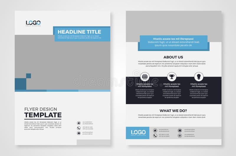 Blå rektangulär affärsreklamblad-/broschyrmall royaltyfria bilder