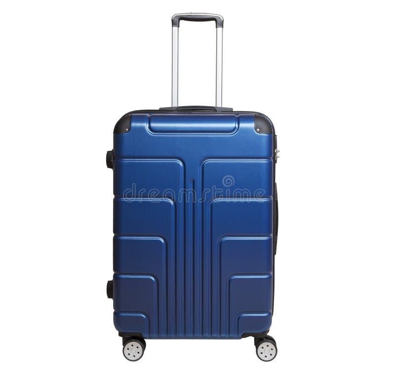 Blå resväska som isoleras på vit bakgrund royaltyfria foton