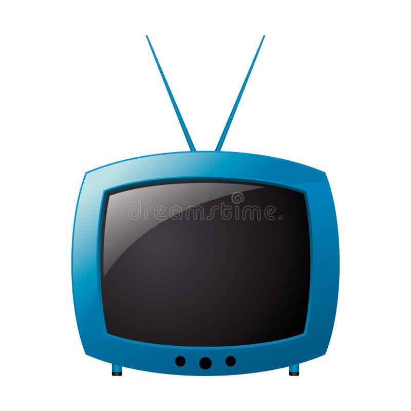 blå retro television royaltyfri illustrationer