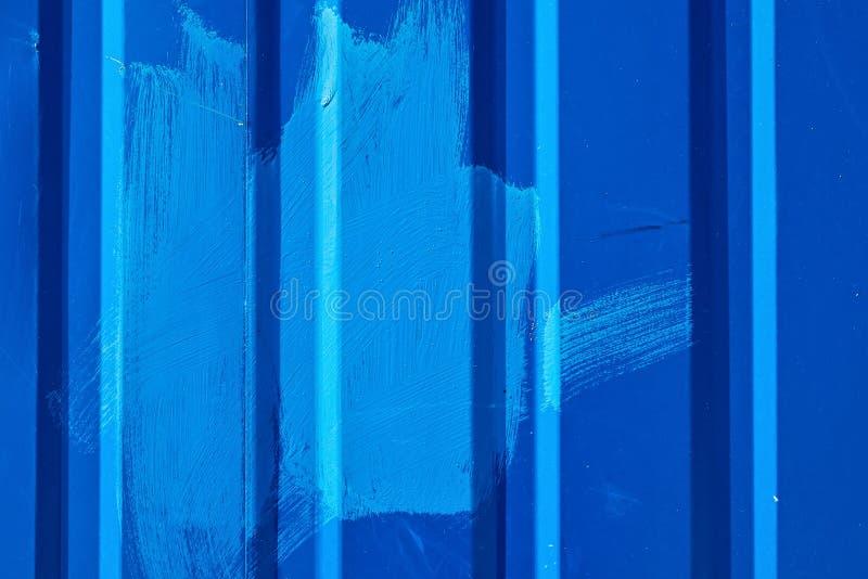 Blå ridged stålvägg, bakgrundsfototextur royaltyfri fotografi
