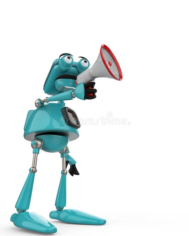Blå robot för tappning i en vit bakgrund stock illustrationer