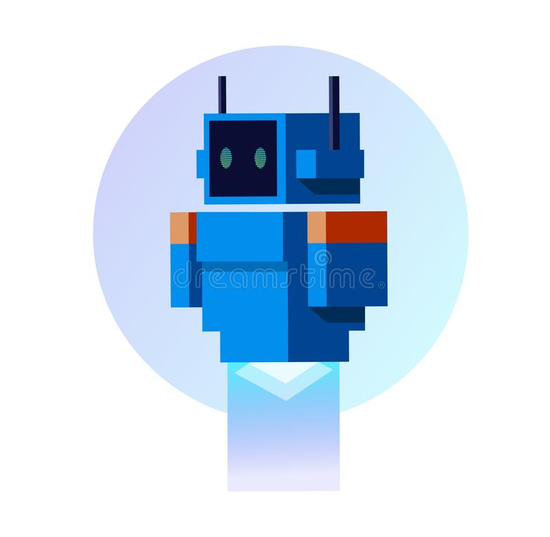 Blå robot i plan stil vektor illustrationer