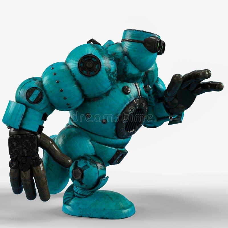 Blå robotboll i en vit bakgrund royaltyfri illustrationer