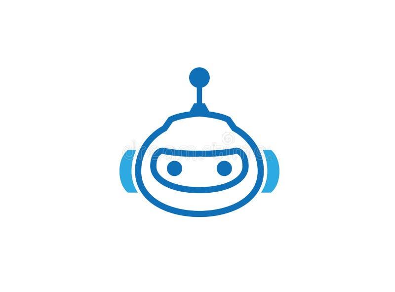 Blå robothuvudsymbol för logo royaltyfri illustrationer