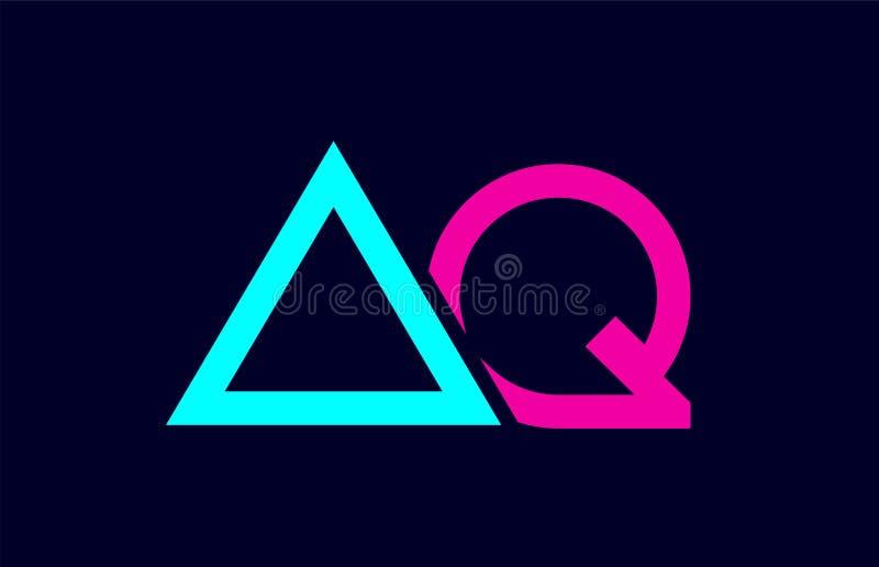 blå rosa färgrik aq för kombination för alfabetbokstavslogo en q-design stock illustrationer