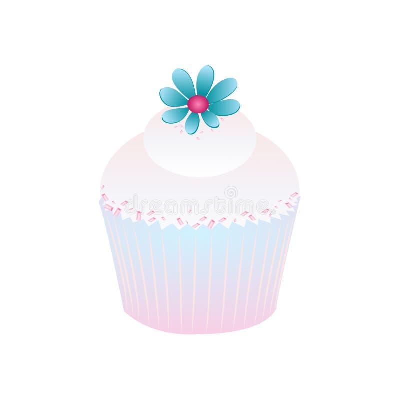 Blå rosa glasyr på kakaefterrätt för muffin stock illustrationer
