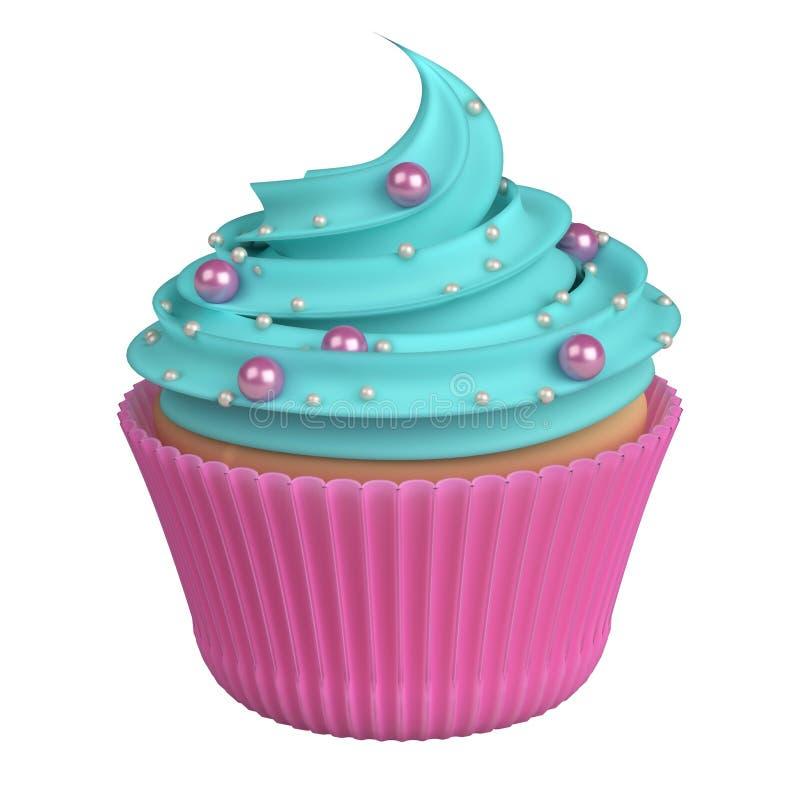 Blå rosa realistisk muffin som isoleras på vit stock illustrationer