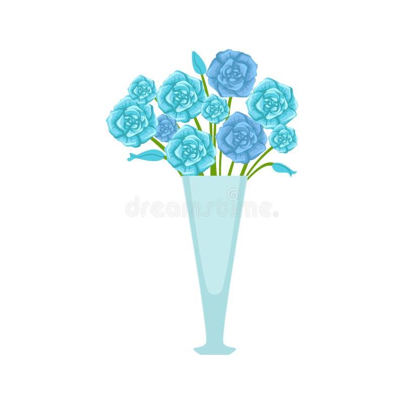 Blå rosblommabukett i den högväxta blommavasen, för växtsortiment för blomsterhandel dekorativ illustration för vektor för teckna vektor illustrationer