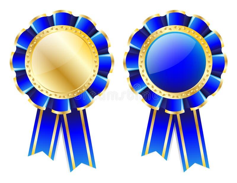 Blå rosett, emblem med den guld- gränsen, band och guld- lagerkrans som isoleras på vit stock illustrationer