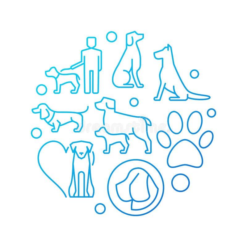 Blå rund illustration med hundsymboler Lager för vektorbegreppshund stock illustrationer