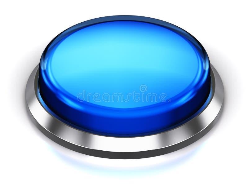 Blå rund knapp stock illustrationer