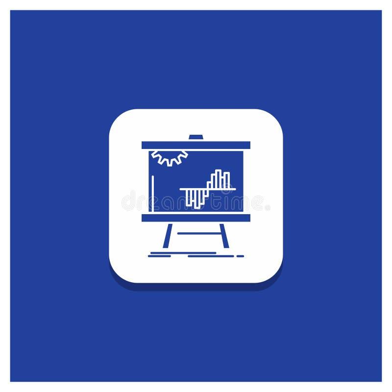 Blå rund knapp för affären, diagram, data, graf, statistik-skårasymbol stock illustrationer