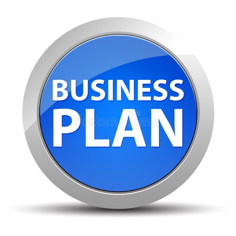 Blå rund knapp för affärsplan royaltyfri illustrationer