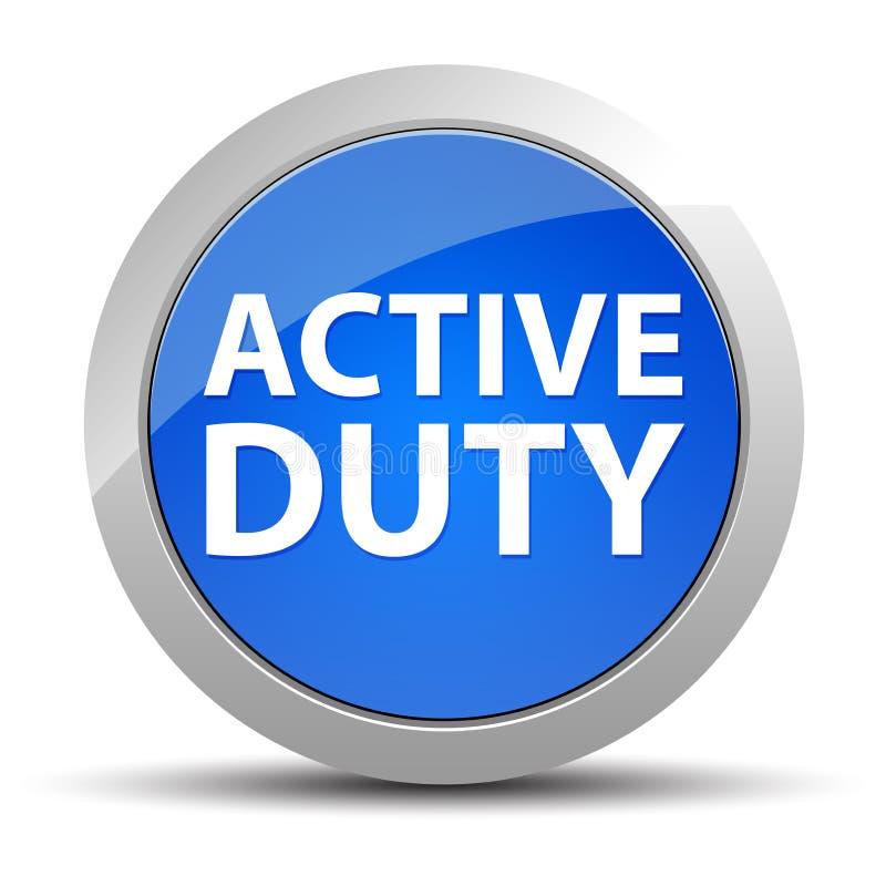 Blå rund knapp för aktiv arbetsuppgift royaltyfri illustrationer