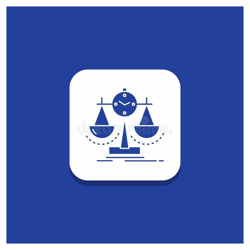 Blå rund knapp för allsidigt, ledning, mått, sammanställningsruta, strategiskårasymbol royaltyfri illustrationer