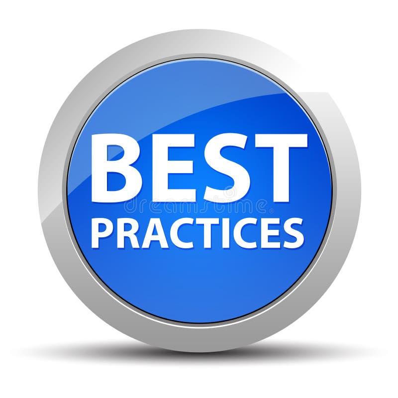 Blå rund knapp för bästa övningar stock illustrationer