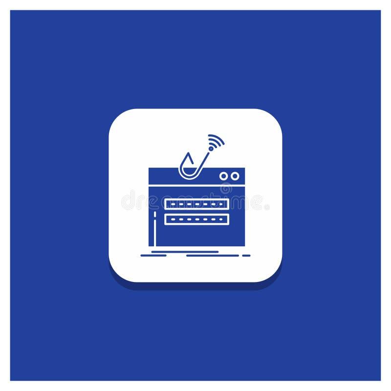 Blå rund knapp för bedrägerit, internet, inloggning, lösenord, stöldskårasymbol royaltyfri illustrationer