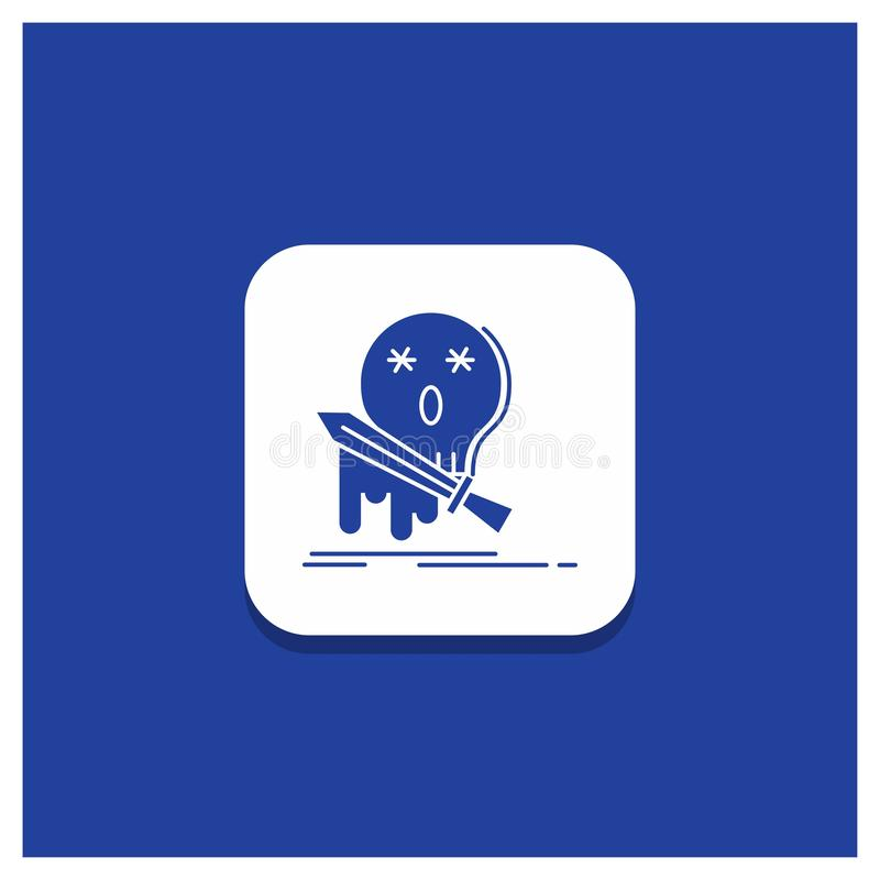 Blå rund knapp för död, frag, lek, byte, svärdskårasymbol stock illustrationer