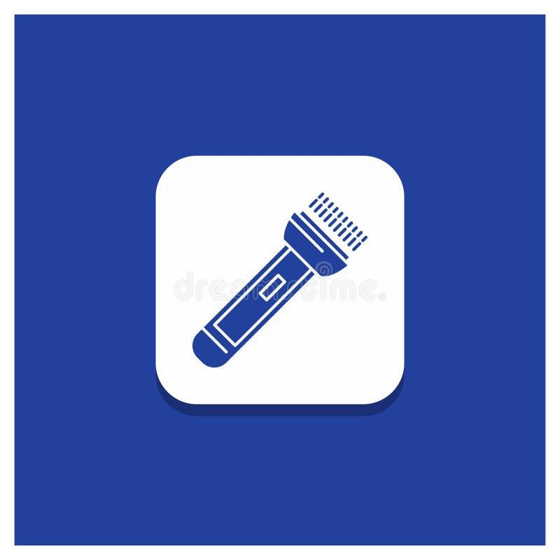 Blå rund knapp för facklan, ljus, exponering och att campa och att fotvandra skårasymbolen stock illustrationer