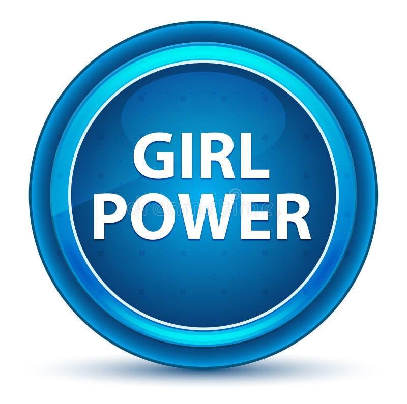 Blå rund knapp för flickamaktögonglob vektor illustrationer