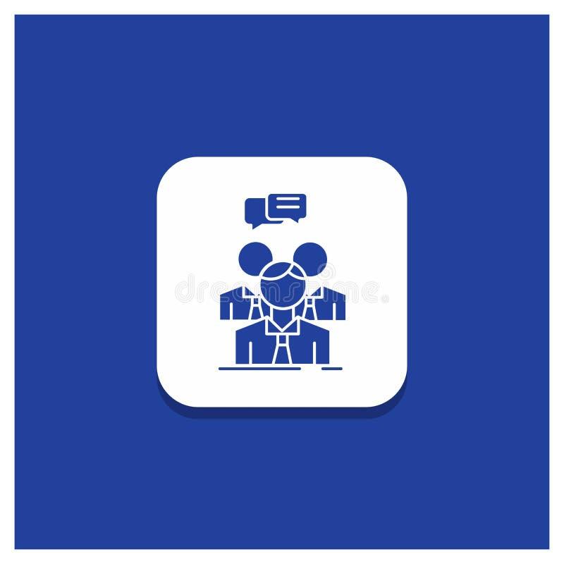 Blå rund knapp för gruppen, affär, möte, folk, lagskårasymbol stock illustrationer