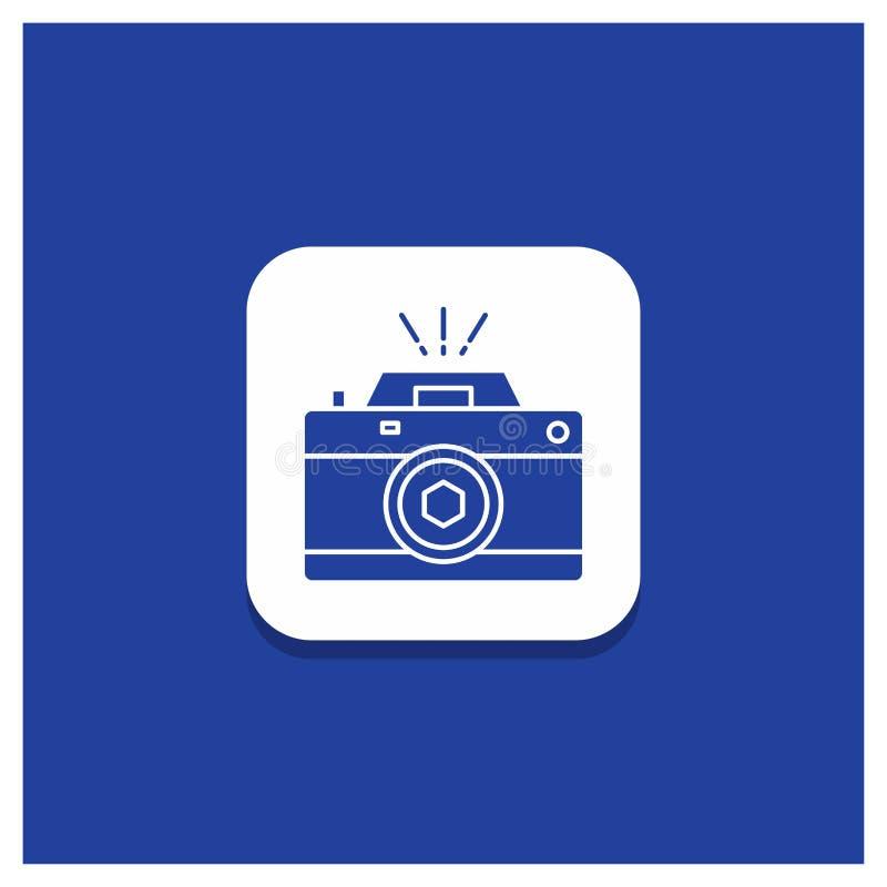 Blå rund knapp för kameran, fotografi, tillfångatagande, foto, öppningsskårasymbol royaltyfri illustrationer