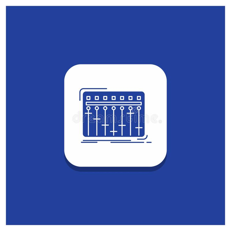 Blå rund knapp för konsolen, dj, blandare, musik, studioskårasymbol royaltyfri illustrationer