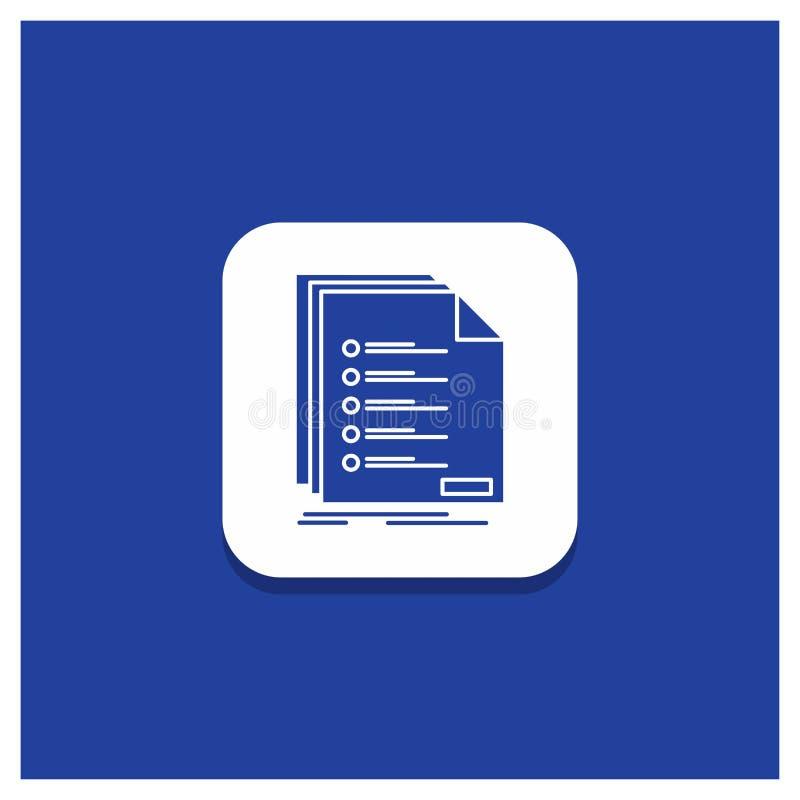Blå rund knapp för kontrollen, arkivering, lista, förteckning, registreringsskårasymbol royaltyfri illustrationer
