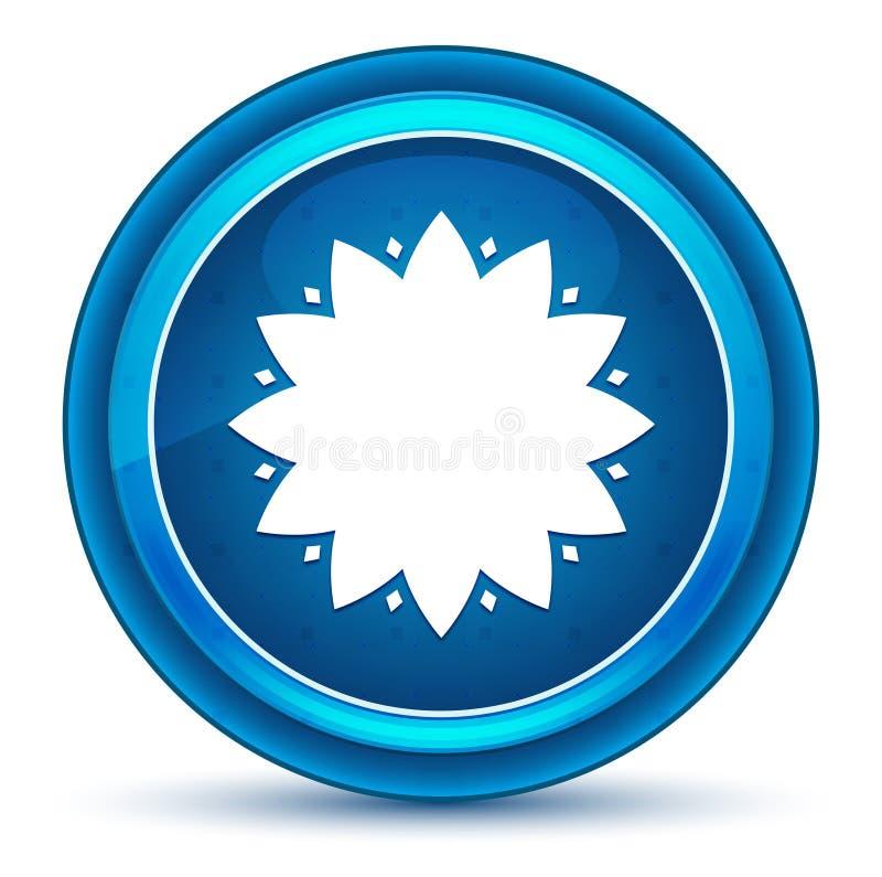 Blå rund knapp för lövrik blommasymbolsögonglob royaltyfri illustrationer