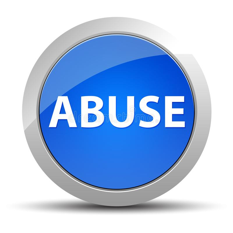 Blå rund knapp för missbruk stock illustrationer