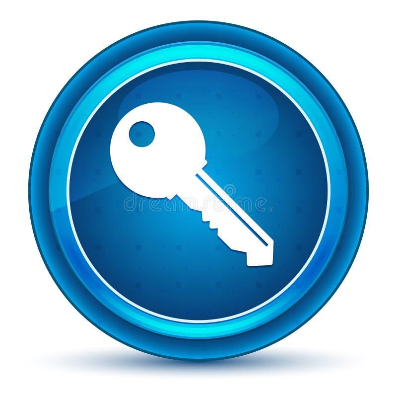 Blå rund knapp för nyckel- symbolsögonglob vektor illustrationer